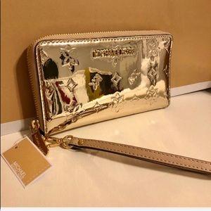 New Michael Kors Gold Mirrored Wallet/Wristlet